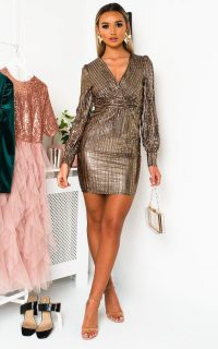 Ikrush Kate Metallic Shine Mini Dress in Champagne