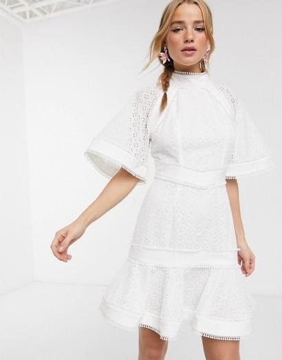 Keepsake high neck ardour embroidered mini dress in procelain – high neck ruffled hem dresses