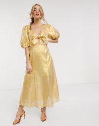 Keepsake metallic caution midi dress in yellow