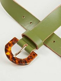 OLIVER BONAS Khaki & Tortoiseshell Buckle Leather Belt / womens green belts