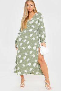 IN THE STYLE KHAKI LARGE FLORAL PRINT WRAP MIDI DRESS