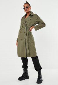 MISSGUIDED khaki oversized trench coat