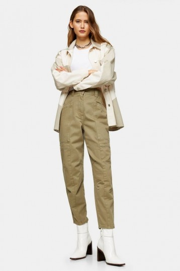 TOPSHOP Khaki Seamed Casual Peg Trousers