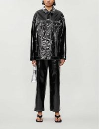 KIMHEKIM Oversized long-sleeved vinyl jacket in black