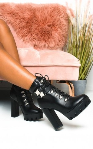 Ikrush Kimmy Lace Up Platform Heeled Boots in Black pu - flipped
