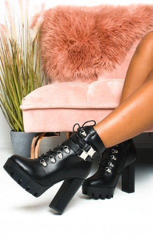 Ikrush Kimmy Lace Up Platform Heeled Boots in Black pu