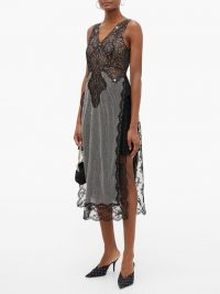 CHRISTOPHER KANE Lace and crystal-chainmail dress in black