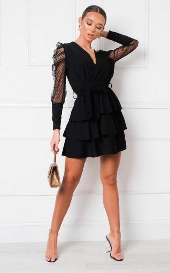 IKRUSH Laurenza Sheer Sleeve Dress in Black | LBD - flipped
