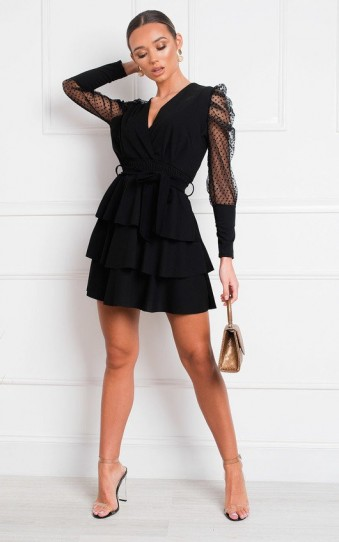 IKRUSH Laurenza Sheer Sleeve Dress in Black | LBD
