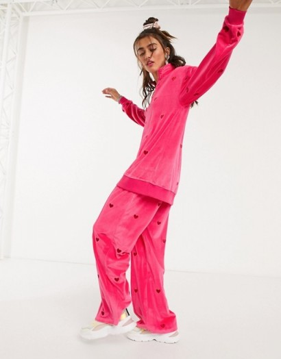 Lazy Oaf all over heart embroidered pink velour co-ord