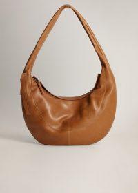 MANGO Leather hobo bag in medium brown REF. 67094765-DRACO-LM