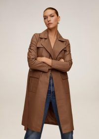 MANGO Leather trench in medium brown REF. 67084764-BABA-I-LM
