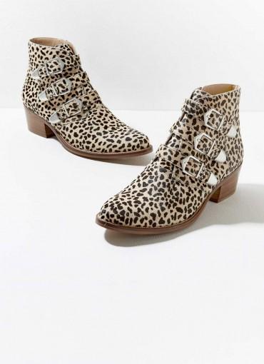 MINT VELVET Lee Leopard Leather Boots / triple buckle boot