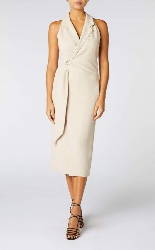 ROLAND MOURET LENNON DRESS in MINK ~ sleeveless form-fitting dresses - flipped