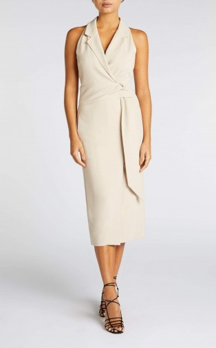 ROLAND MOURET LENNON DRESS in MINK ~ sleeveless form-fitting dresses