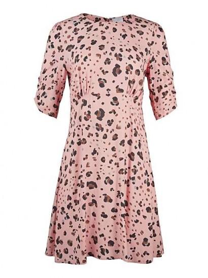 OLIVER BONAS Leopard Print Coral Mini Dress / fit and flare