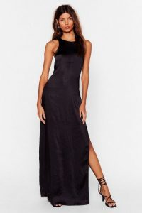 NASTY GAL x Josefine H.J Let Me Introduce You Satin Maxi Dress in Black