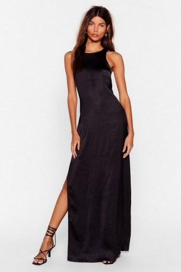 NASTY GAL x Josefine H.J Let Me Introduce You Satin Maxi Dress in Black - flipped