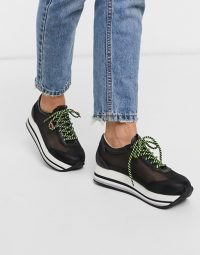 Levi's flatform mesh detail trainer in black – sheer trainers