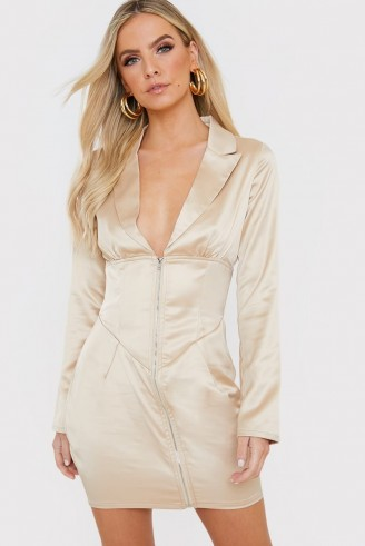 IN THE STYLE LIGHT GOLD SATIN CORSET WAIST MINI DRESS – plunge front neckline