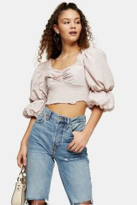 TOPSHOP Lilac Puff Sleeve Taffeta Lace Blouse