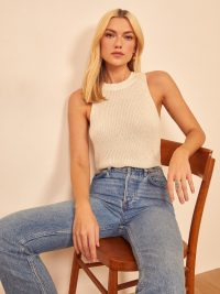 Reformation Lilac Top in Ivory | sleeveless knitted tops