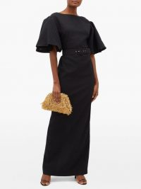 EMILIA WICKSTEAD Lilia belted seersucker-organza maxi dress in black ~ voluminous sleeves