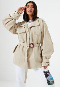 lissy roddy x missguided beige canvas buckle detail jacket – utilitarian outerwear