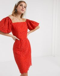 Little Mistress lace pencil dress with balloon sleeve in tangerine | orange bardot dresses