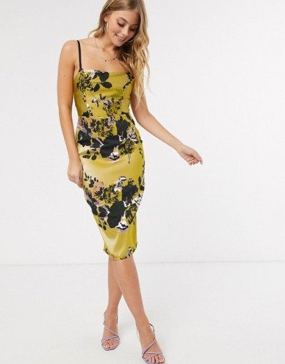 Little Mistress pencil dress in statement gold jacquard - flipped