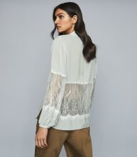 REISS LIZA LACE DETAILED SEMI SHEER BLOUSE PALE BLUE ~ feminine panels
