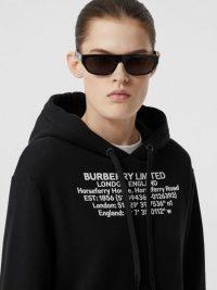 Burberry Location Print Cotton Oversized Hoodie Black | designer hoodies