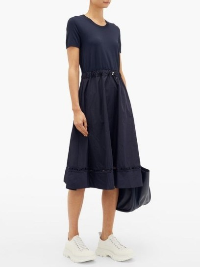 MONCLER Logo-embroidered shell and crepe dress in navy - flipped