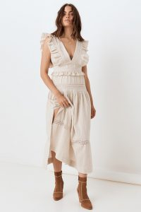 SPELL and the GYPSY COLLECTIVE LOLA FRILL MAXI DRESS in Biscuit | sleeveless ruffle trimmed dresses