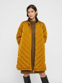YAS LONGLINE QUILTED DOWN JACKET Yellow / Buckthorn Brown