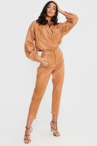 LORNA LUXE TAN 'KENSINGTON' BALLOON FIT LEATHER LOOK TROUSERS