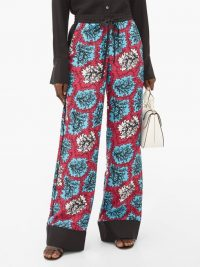 MARY KATRANTZOU Macaw drawstring-waist silk-twill trousers in pink and blue