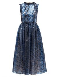 EMILIA WICKSTEAD Maidy python-print PVC dress in navy ~ blue fit and flare