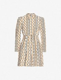 MAJE Rikole crepe mini dress | vintage style geo prints