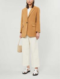MAJE Valmon camel cotton-velvet blazer