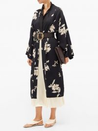 ETRO Malva floral-print satin coat in black | kimono look coats