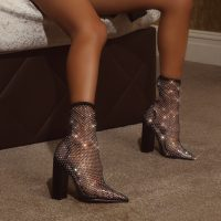 EGO Mandi Diamante Detail Fishnet Block Heel In Black – sparkling ankle boots