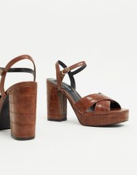 Mango moc croc platform heels in brown – retro sandals