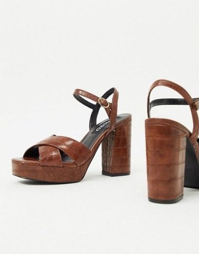 Mango moc croc platform heels in brown – retro sandals - flipped