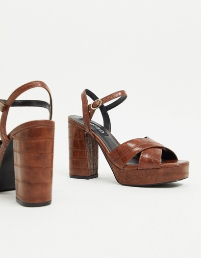 Mango moc croc platform heels in brown – retro sandals