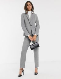 Mango tailored blazer co-ord in dogtooth print / checked pant suit