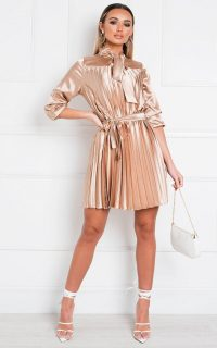 IKRUSH Margie Satin Pleated Mini Dress in Gold