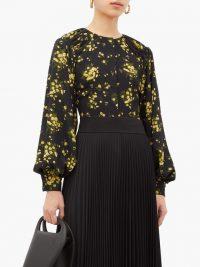 EMILIA WICKSTEAD Margot floral-print georgette blouse in black ~ blouson sleeved top
