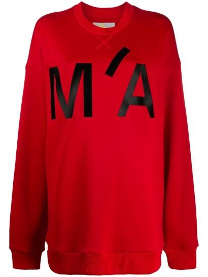 MARQUES'ALMEIDA oversized monogram print sweatshirt in red