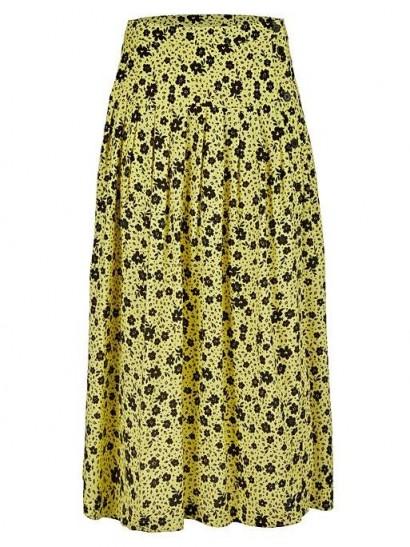 OLIVER BONAS Martha Yellow Floral Print Midi Skirt